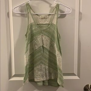 Staring at Stars/Urban Green & White Lace Top